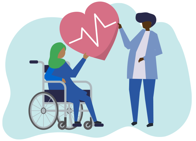 A woman with a headscarf sits in a wheelchair. She is holding a large heart which is also being held up by a clinician.